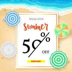 Selling ad banner, vintage text design. Summer vacation discounts, sale background of the sandy beach and the sea shore. Template for online shopping, advertising actions with percentage of discounts.