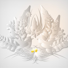 Bird Nest with Egg and Floral Background - Vector Illustration