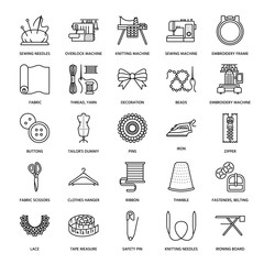Sewing equipment, tailor supplies flat line icons set. Needlework accessories - sewing embroidery machine, pin, needle, thread, zipper, hanger, DIY tools. Linear signs set, logos for hand made store.
