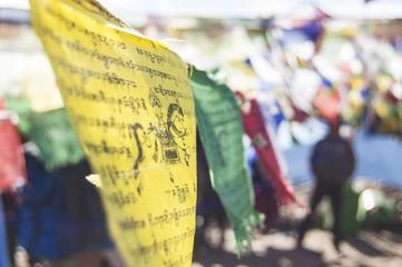 Wallpaper Macro tibetan prayer flags yellow blue red white mountain temple snow religion