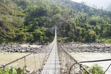 Nepal bridge steel long valley village plandscape