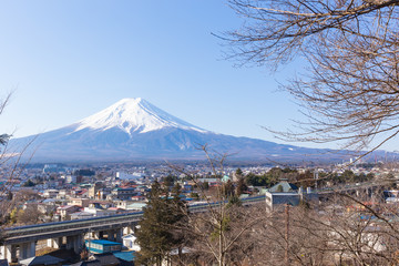Fuji mountain and the city in the morning