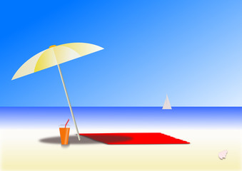illustration of a sunny day at beach