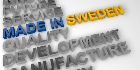 Made in Sweden concept in the national colors