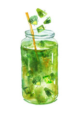 Watercolor drawing - a cocktail, a soft drink, lemonade with A piece of kiwi, lime, mint, ice, pieces of fruit in a glass dish, a jar. On white isolated background. Watercolor card, logo green color.