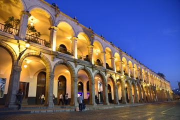 Printed kitchen splashbacks South America Country Arcades de la plaza de Armas la nuit à Arequipa au Pérou