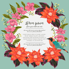 Wreath with tropical bird, flowers and leaves. Exotic floral botanical background. Design for banner, poster, card, invitation and scrapbook. Vintage vector illustration in watercolor style