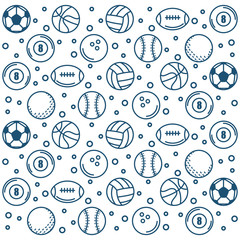 Hand drawn sport balls over white background pattern vector illustration