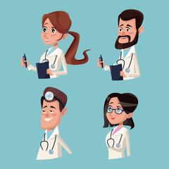 color background hospital medical half body staff team doctors vector illustration