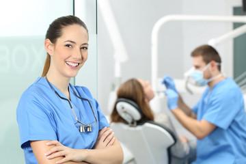 Dentist female posing at consultation