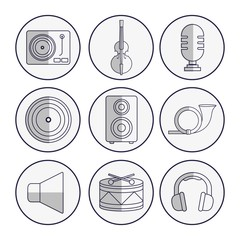 music related icons over white background vector illustration