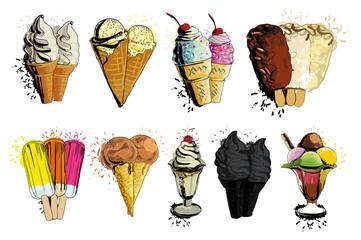 illustration of ice creame tasty set. Hand drawn decorative dessert with spray effect for design menu.