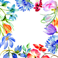 Wildflower flower frame in a watercolor style isolated.