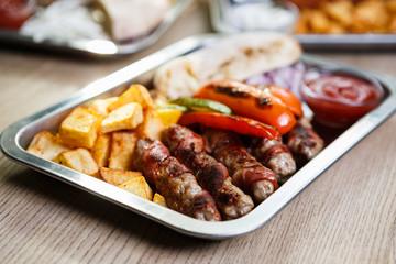 Traditional Serbian food restaurant,background menu close up