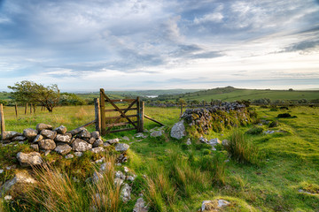 Wall Mural - A wooden gate on Bodmin Moor in Cornwall, leading out to Siblyback lake and Tregarrick Tor in the far distance