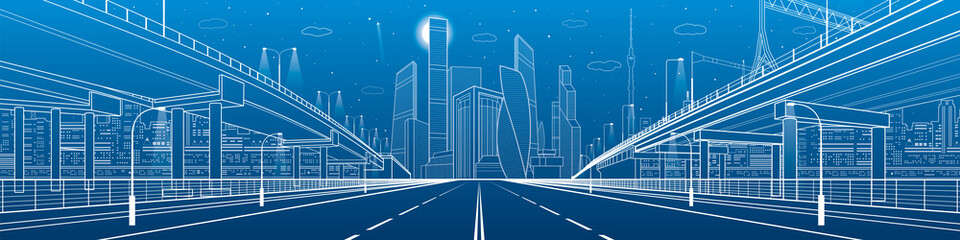 Wall Mural - Night highway. Two transportation overpass. Urban infrastructure, modern city on background, industrial architecture. White lines illustration, night scene, vector design art