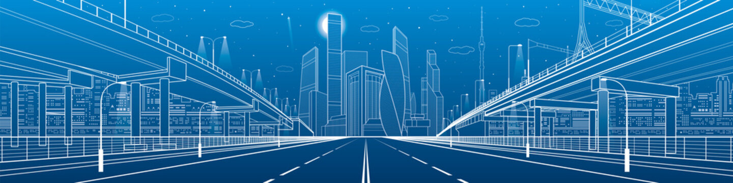 Night highway. Two transportation overpass. Urban infrastructure, modern city on background, industrial architecture. White lines illustration, night scene, vector design art