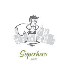 Vector hand drawn Superhero concept sketch. Superman standing in special costume, big city at background