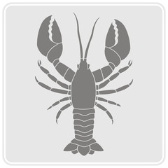 monochrome icon with lobster for your design