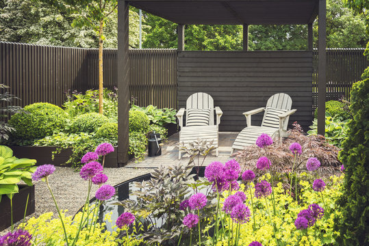 Landscaped garden with terrace