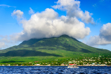 The Nevis Volcano at Saint Kitts and Nevis in the Caribbean.