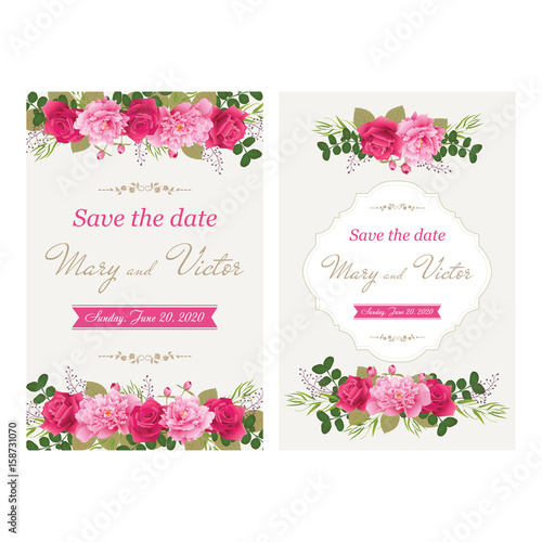 Wedding Invitation Cards With Flower Use For Boarding Pass
