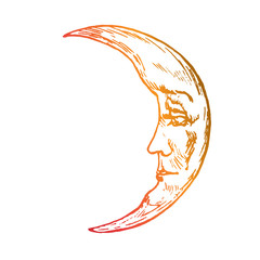 The moon with young face of  beautiful man looks with wistfully, old fashioned woodcut style design, hand drawn doodle, sketch in pop art style, isolated vector illustration
