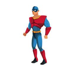 Aluminium Prints Superheroes muscular man superhero in mask suit boots gloves standing vector illustration
