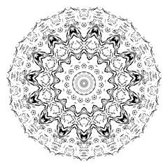 Vector element for coloring book. Black and white mandala