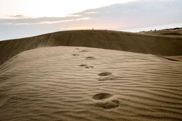 Footprints on sand dunes