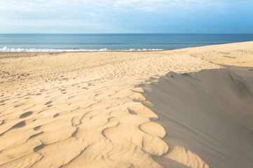 Footprints on sand dunes