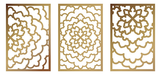 Set of Vector Laser cut panel. Abstract Pattern template for decorative panel. Template for interior design