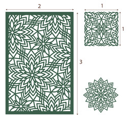 Vector Laser cut panel, the seamless pattern and flower. Image suitable for engraving, printing, plotter cutting, laser cutting paper, wood, metal, stencil manufacturing.