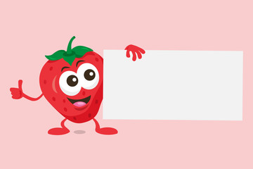 Illustration of cute strawberry mascot with offer label in his hand. Isolated on light background.