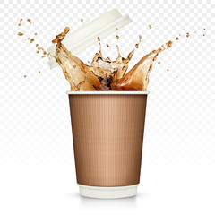 Coffee splash in paper cup isolated on transparent background
