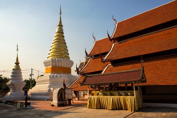 Golden Pagoda in the Thai Temple of the North of Thailand