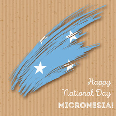 Micronesia Independence Day Patriotic Design. Expressive Brush Stroke in National Flag Colors on kraft paper background. Happy Independence Day Micronesia Vector Greeting Card.