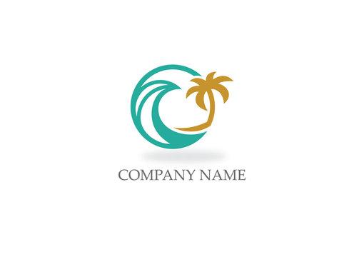 round ocean water beach palm tree logo
