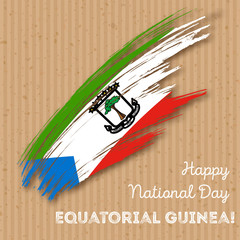 Equatorial Guinea Independence Day Patriotic Design. Expressive Brush Stroke in National Flag Colors on kraft paper background. Happy Independence Day Equatorial Guinea Vector Greeting Card.