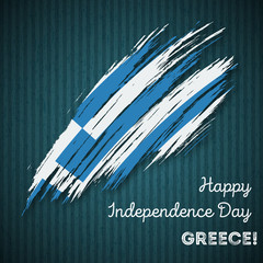Greece Independence Day Patriotic Design. Expressive Brush Stroke in National Flag Colors on dark striped background. Happy Independence Day Greece Vector Greeting Card.