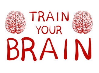 'Train your brain' text with hand drawn brain sketch. VECTOR illustration, red handwritten letters.