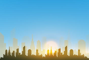 The silhouette of the city in a flat style. Modern urban landscape.vector illustration.
