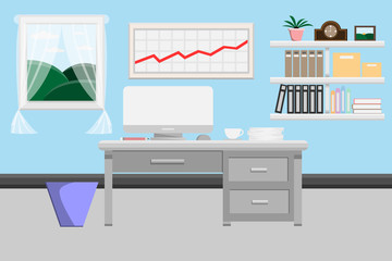 interior office room design with computer and accessory design.vector and illustration