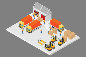 3D isometric logistic and warehouse.vector and illustration