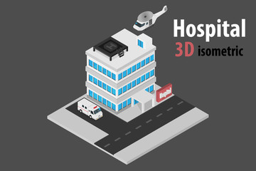 3D isometric hospital with helicopter and ambulance.vector and illustration