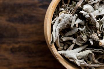 Dry Sage Tea in wooden ladle