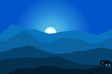 Photo sur Aluminium Bleu fonce red mountain hill landscape with tree and star on the green sky background.vector and illustration