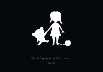 World Day Against Child Labour vector. Children worker vector illustration. Silhouette of a girl with bear. Important day