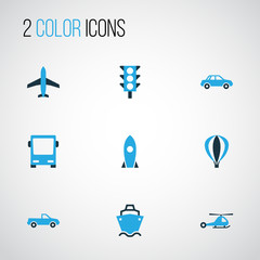 Shipment Colorful Icons Set. Collection Of Missile, Plane, Chopper And Other Elements. Also Includes Symbols Such As Traffic, Guide, Tanker.