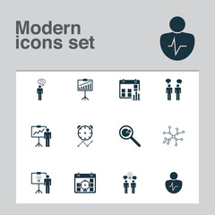 Management Icons Set. Collection Of Solution Demonstration, Team Meeting, Project Analysis And Other Elements. Also Includes Symbols Such As Chracater, Idea, Communication.
